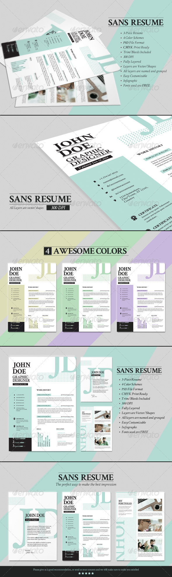 GraphicRiver Mono Resume CV & Business Card 8183295