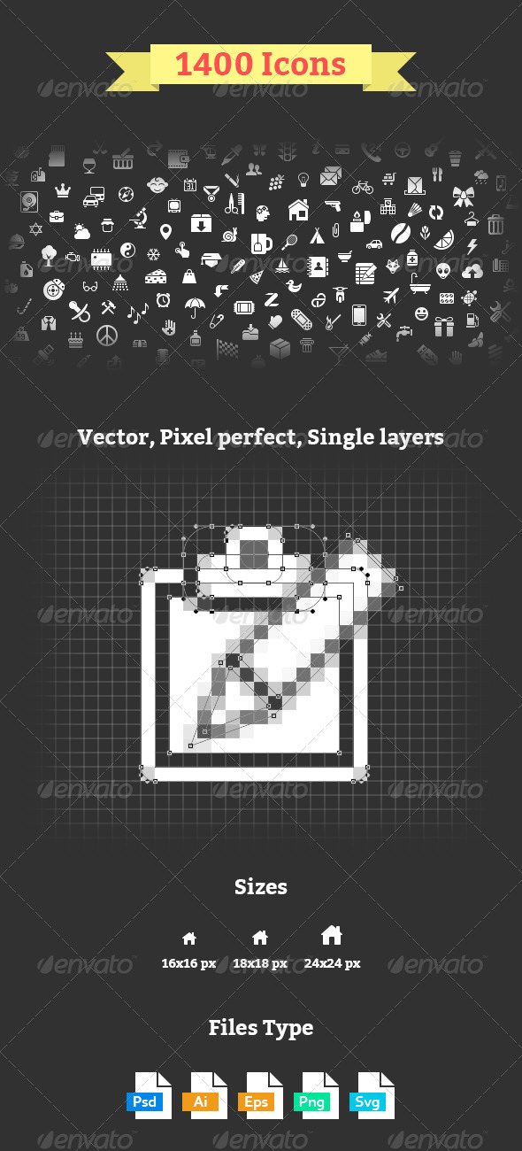 GraphicRiver 1400 Icons 8196839