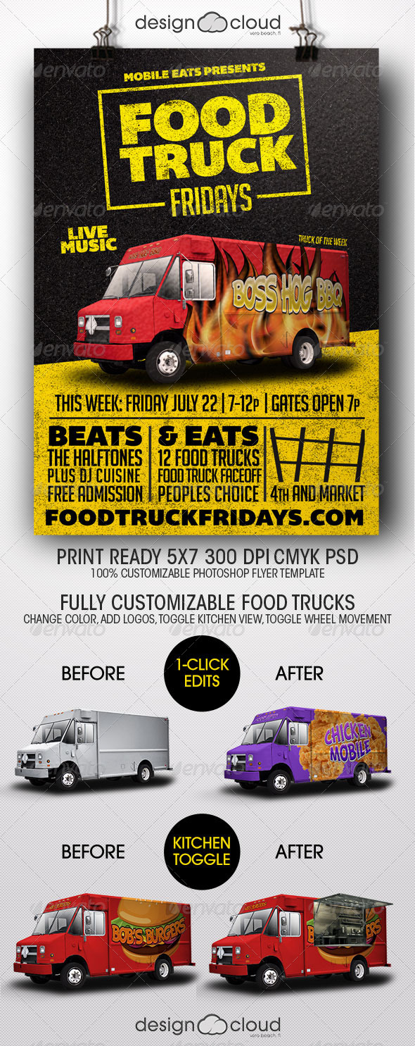 GraphicRiver Food Truck Fridays Flyer Template 8197260