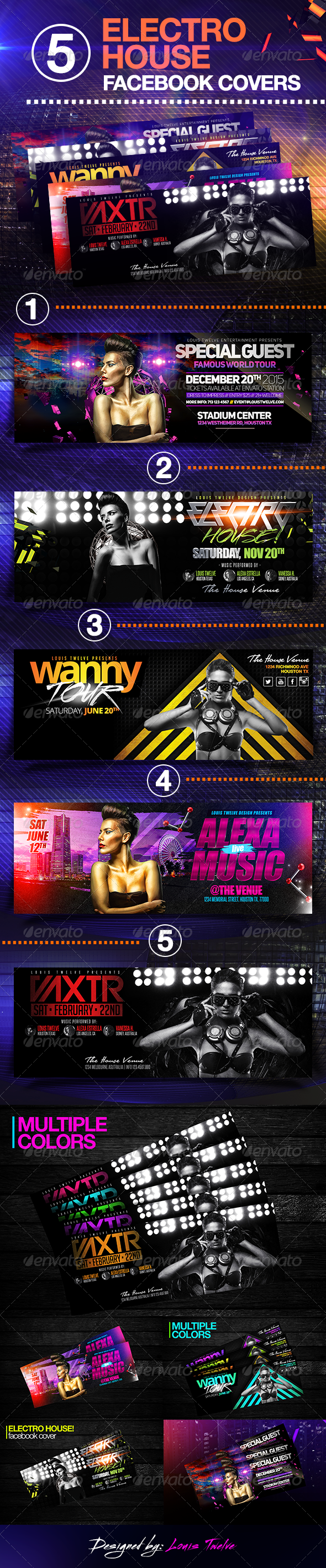 GraphicRiver 05 Electro House Facebook Covers 8197348