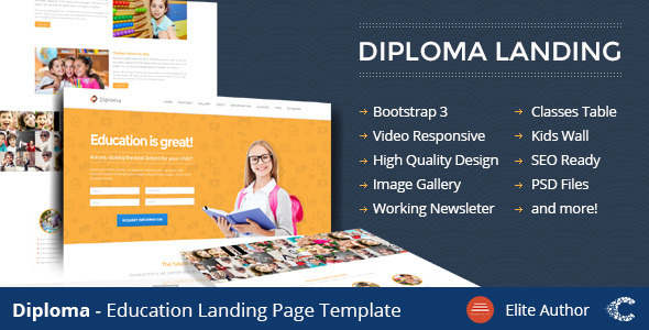 Diploma - Education Bootstrap Responsive Landing - Children Retail