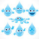 Cartoon Water Drops - GraphicRiver Item for Sale