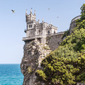 View of the Swallow's Nest and soaring gulls in Crimea - PhotoDune Item for Sale
