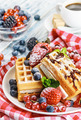 waffles with fresh strawberries - PhotoDune Item for Sale