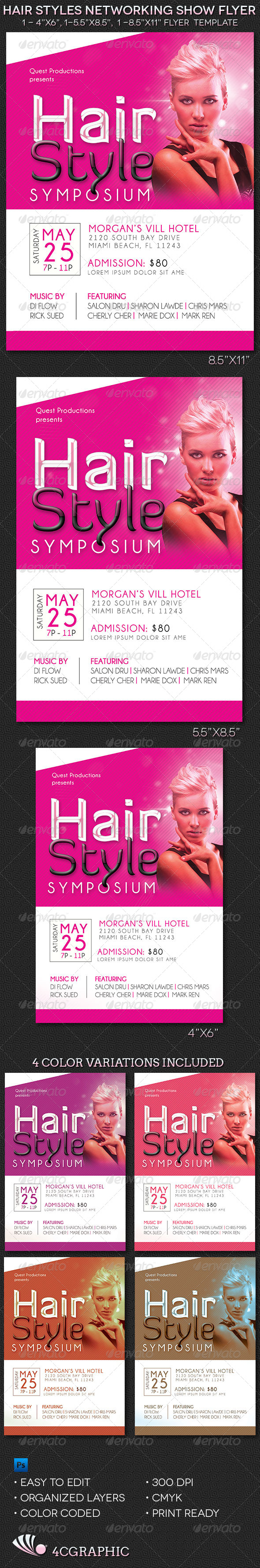 Hair Styles Networking Show Flyer Template - Events Flyers