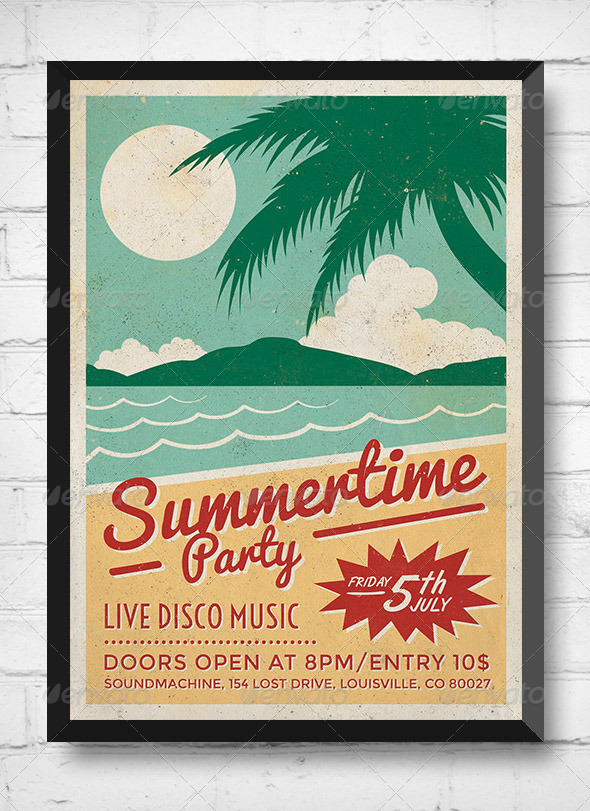 GraphicRiver Summertime Party Retro Event Flyer 8198862