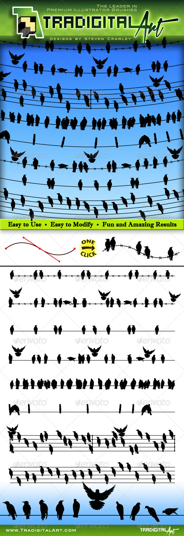 GraphicRiver Birds on a Wire Brushes Set 8199942