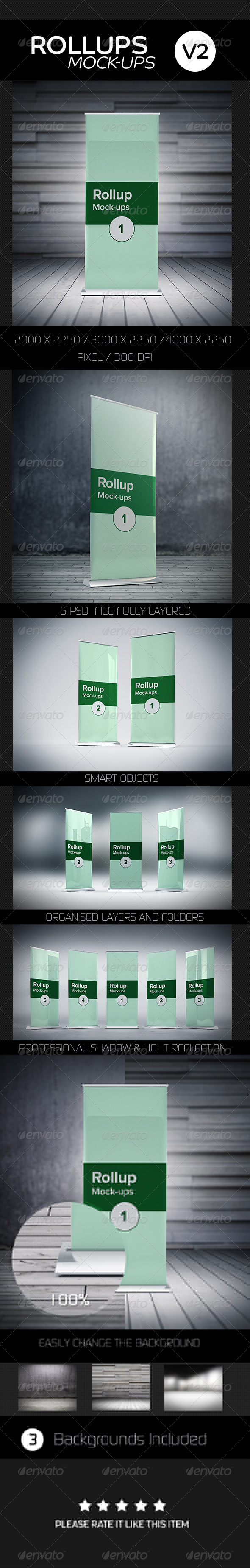 GraphicRiver Roll ups Mock-ups V2 8201784