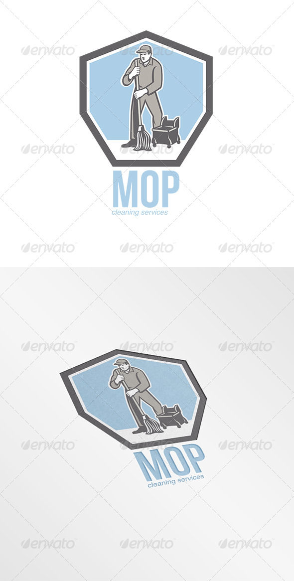 GraphicRiver Mop Cleaning Services Logo 8202175