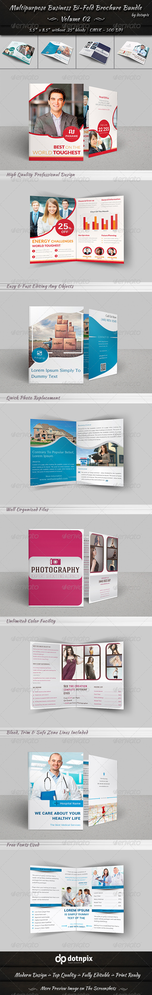 GraphicRiver Multipurpose Business Bi-Fold Brochure Bundle v2 8202633
