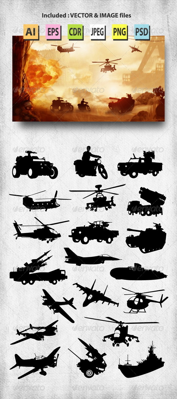 GraphicRiver Set of Military Silhouettes 8202709