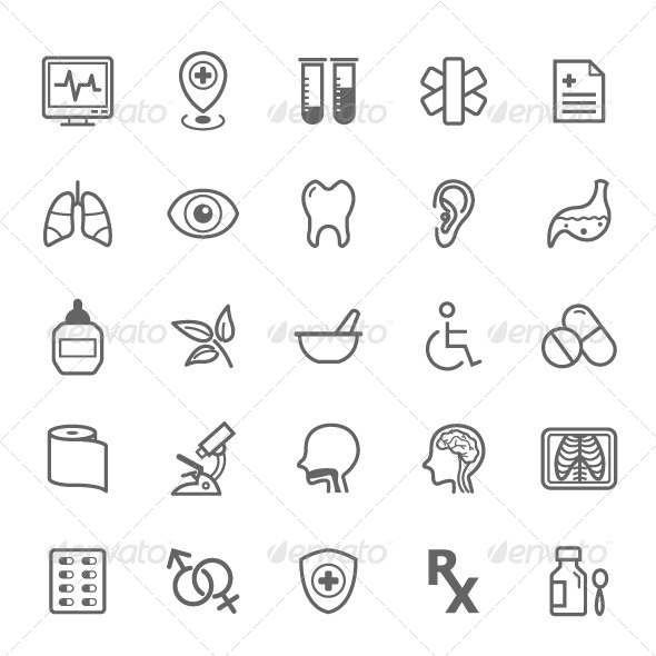 GraphicRiver 25 Outline Stroke Medical & Health Care Icons 8202817