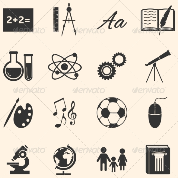 GraphicRiver Set of School Subjects Icons 8202895