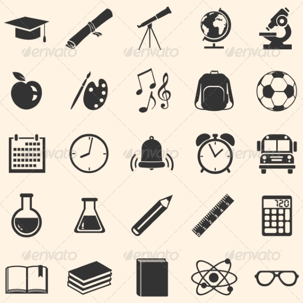 Vector Set of 25 School Icons