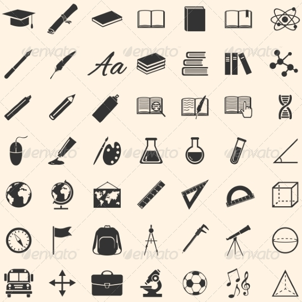 GraphicRiver Set of 49 Education Icons School and University 8202959