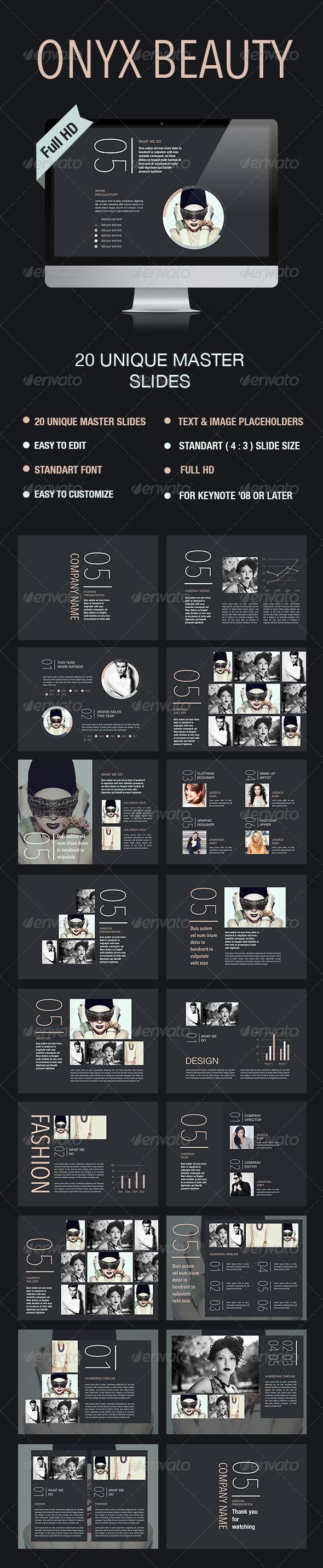 GraphicRiver Onyx Beauty Keynote Template 8165301