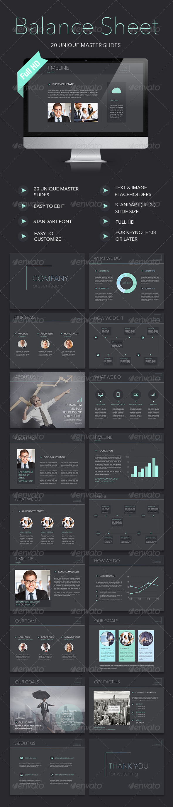 GraphicRiver Balance Sheet Keynote Template 8166560