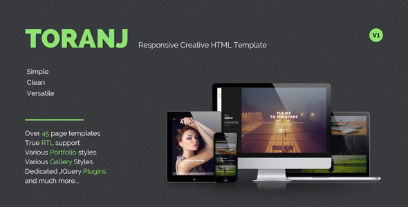ThemeForest Toranj Responsive Creative HTML Template 8156840