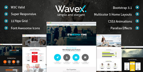 ThemeForest WaveX One Page Parallax 8077453