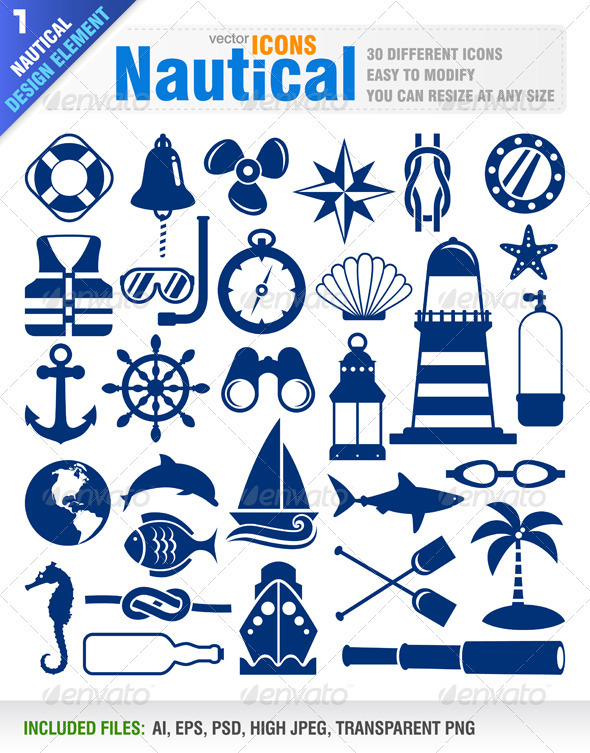 Nautical Icons - Decorative Vectors