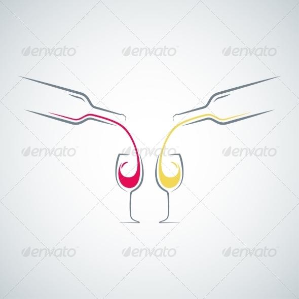 GraphicRiver Wine Glass Bottle Concept Background 8204299