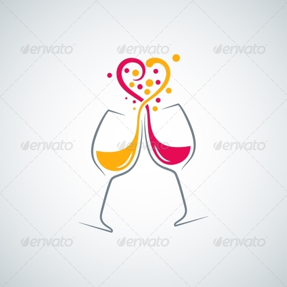 GraphicRiver Red and White Wine Love Concept Background 8204302