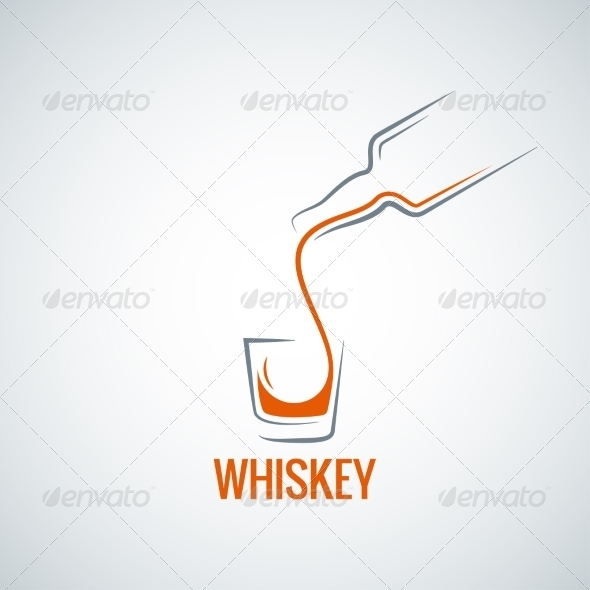 GraphicRiver Whiskey Glass Bottle Shot Splash Background 8204316