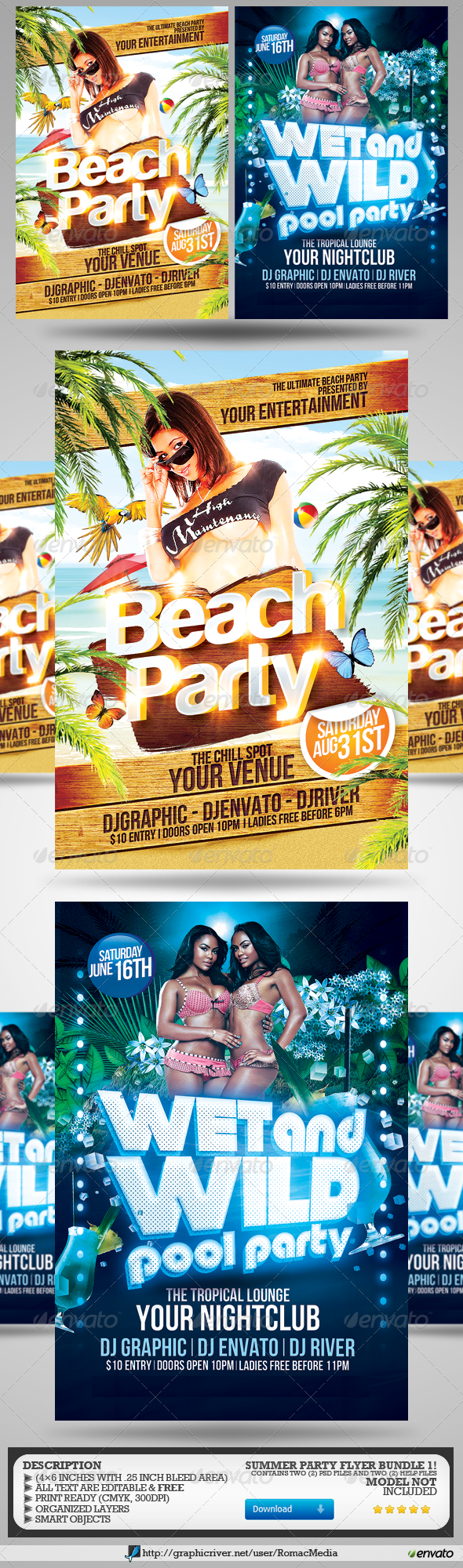 GraphicRiver Summer Party Flyers Bundle 1 8204402