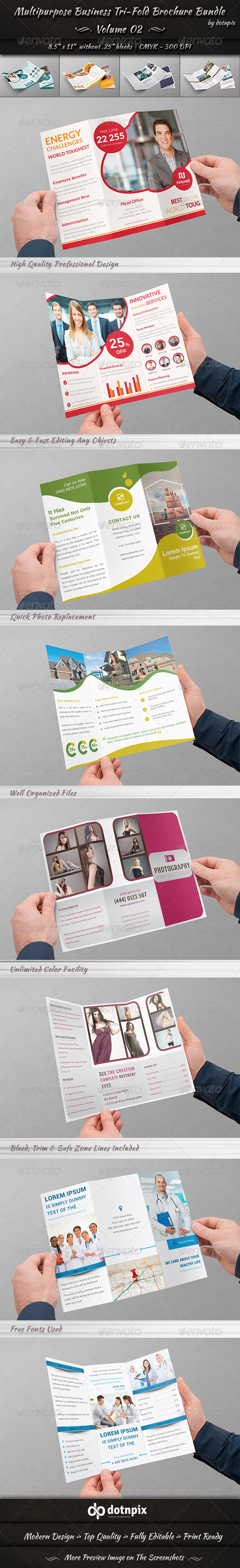GraphicRiver Multipurpose Tri-Fold Brochure Bundle Volume 2 8204434