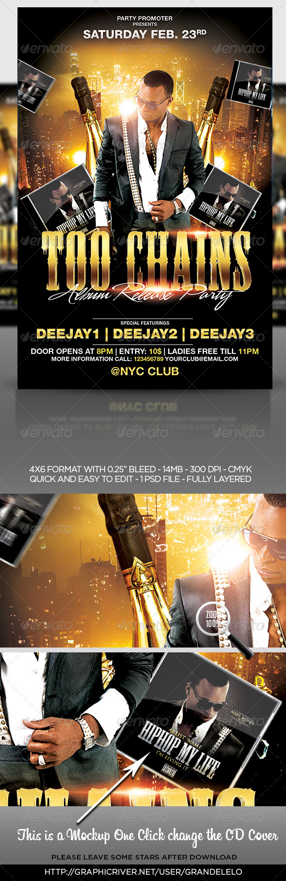 GraphicRiver Album or Mixtape Release Party Flyer Template 8204464