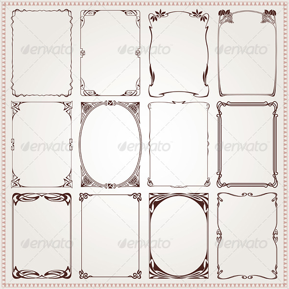 Decorative Frames and Borders Art Nouveau