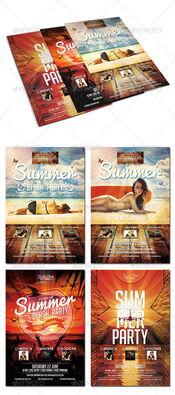GraphicRiver Summer Party Flyer Bundle 8204637