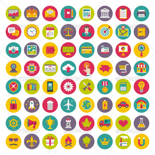 GraphicRiver 64 Vector Icons in Flat Design Style 8204642