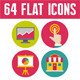 64 Vector Icons in Flat Design Style - GraphicRiver Item for Sale