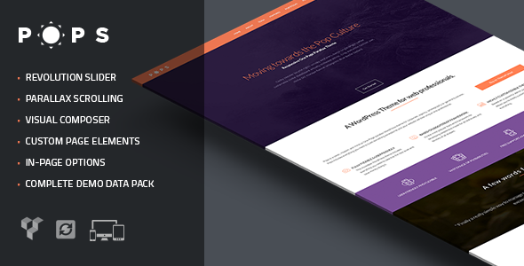 Pops - Responsive One Page Parallax Theme - Creative WordPress