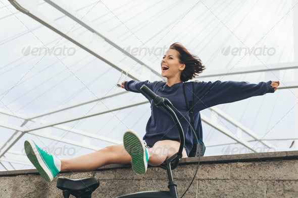 happy hipster teenage girl - Stock Photo - Images