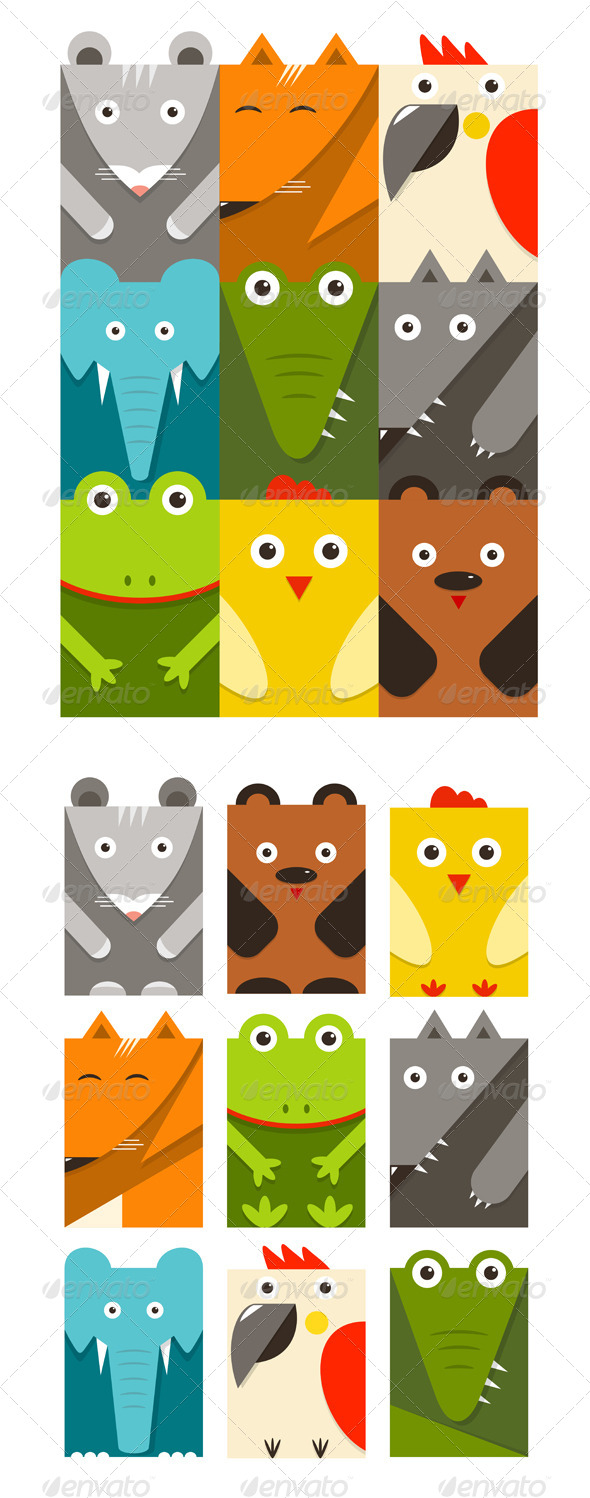 GraphicRiver Flat Childish Rectangular Animals Set 8205767