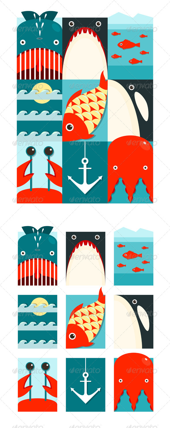 GraphicRiver Flat Sea and Fish Rectangular Nautical Set 8205862