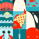 Flat Sea and Fish Rectangular Nautical Set - GraphicRiver Item for Sale