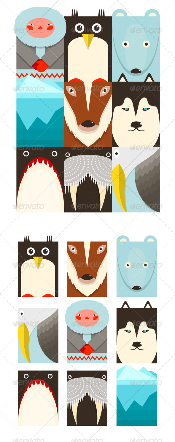 GraphicRiver Flat Arctic and North Pole Symbols Set 8205891