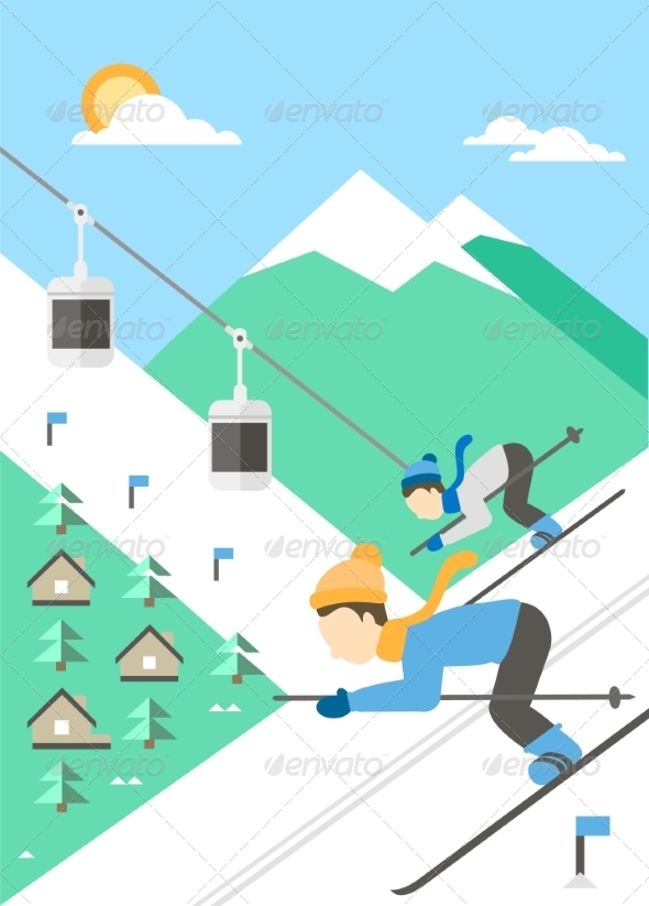 GraphicRiver Landscape of Mountains with Skiers 8206089