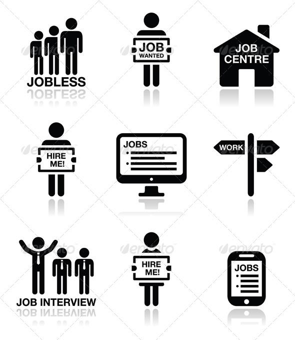 GraphicRiver Unemployment Job Searches Icons Set 8206673