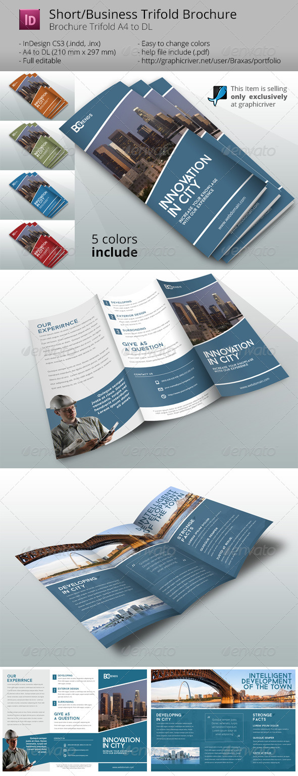 GraphicRiver Business Brochure Trifold Innovation in City 8206687