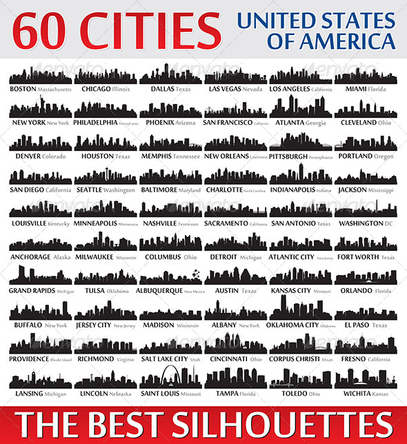 Silhouettes Set o 60 USA Cities