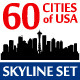 Silhouettes Set o 60 USA Cities - GraphicRiver Item for Sale