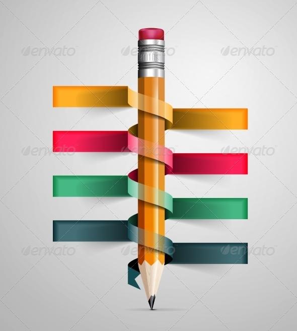 GraphicRiver Creative Template with Pencil Ribbon 8206772