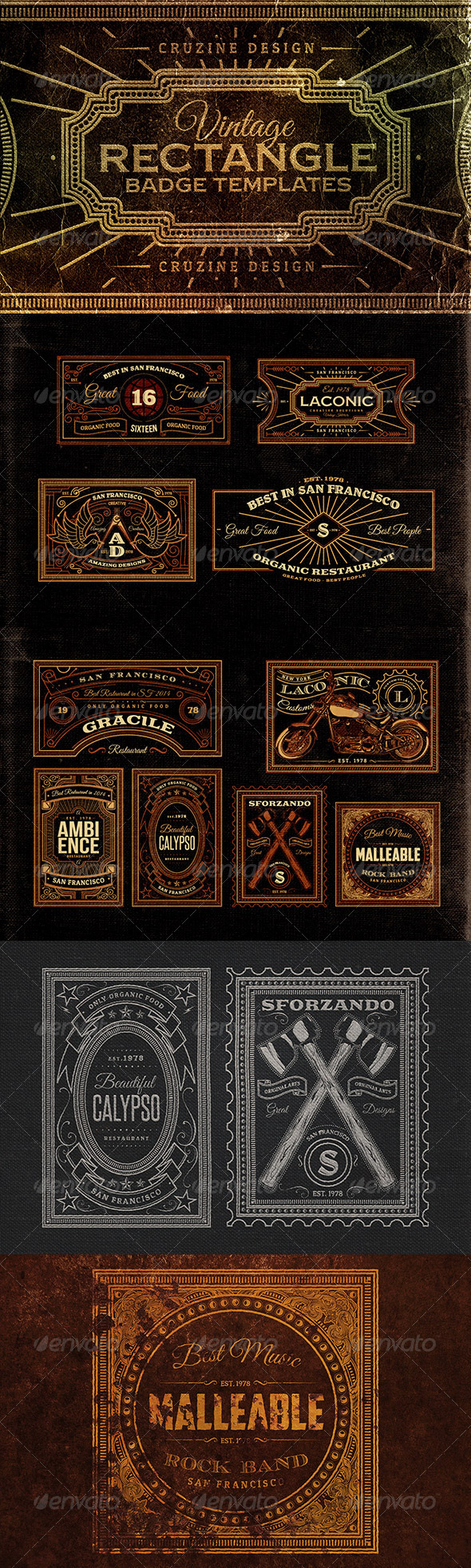 GraphicRiver Rectangle Vintage Badges v.1 8206821