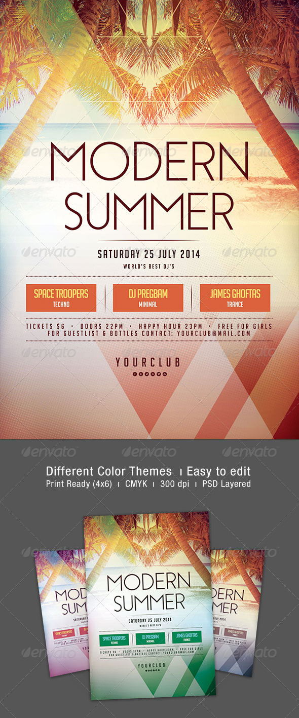 Modern Summer Flyer - Clubs & Parties Events