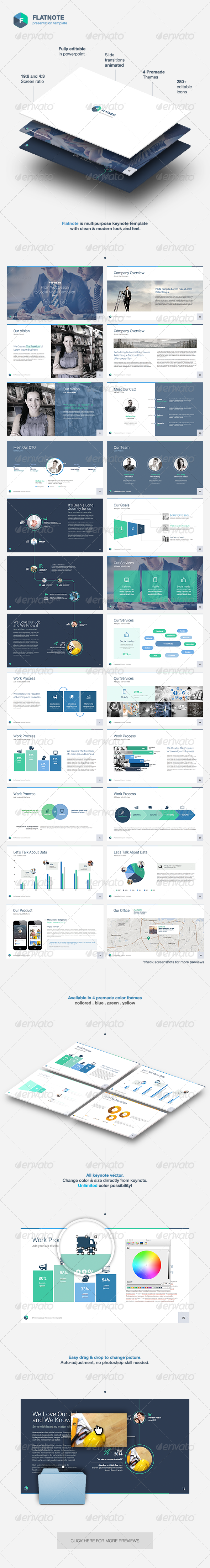 GraphicRiver Flatnote Powerpoint Template 8206979