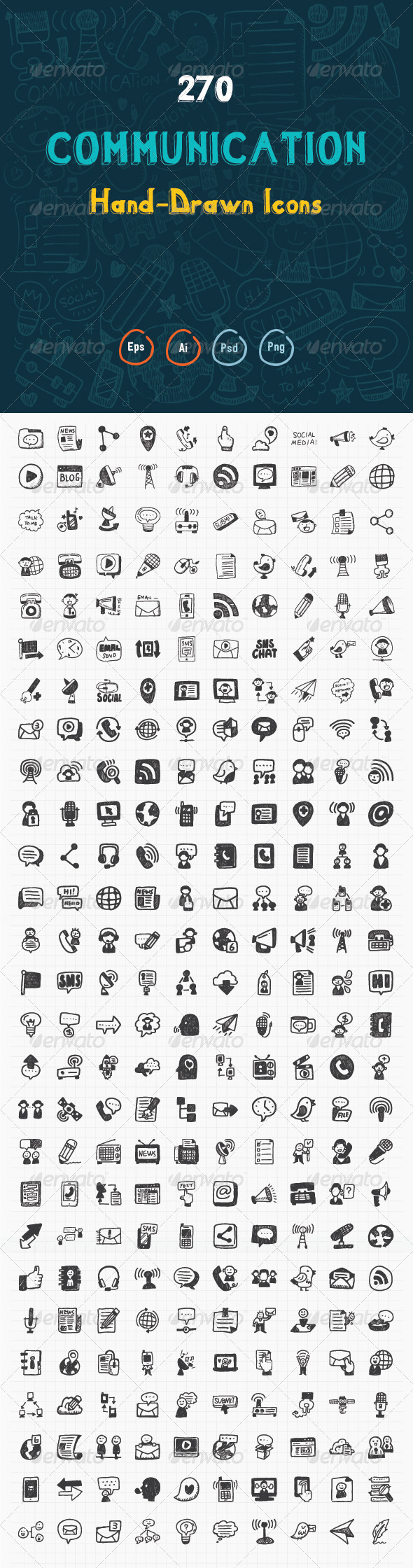 GraphicRiver 270 Hand Drawn Communication Icons 8172884